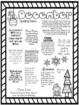 December Spelling Menu