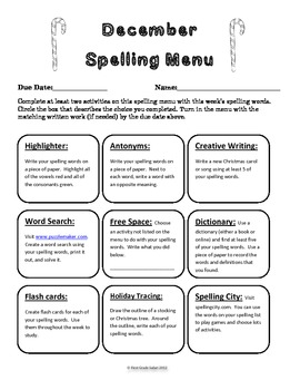 December Spelling Menu - 9 ways for students to learn their spelling words