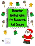 December Spelling Menus for Homework and Centers