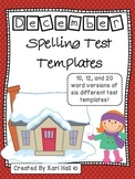 December Spelling Test Templates