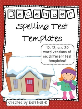 December Spelling Test Templates