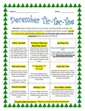December Spelling Tic-Tac-Toe Assignment Packet