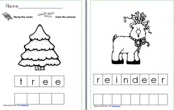 December Stamp a Word and Write the Room Centers