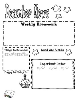 December Stars Journal Cover, Newsletter, and Phonics Choices