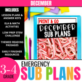 December Sub Plans for 3rd-4th Grade: Ready-to-go lesson plans & activities