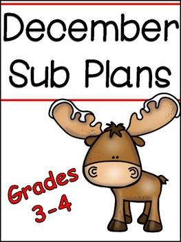 December Substitute Plans for grades 3/4