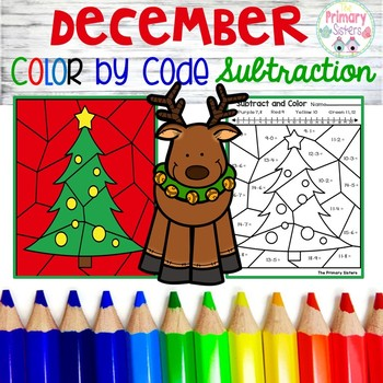 December Subtraction Color by Code