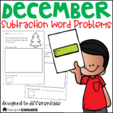 December Subtraction Word Problems First Grade