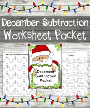 December Subtraction Worksheet Packet- Just Print & Go!