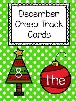 December Teen Numbers and Sight Words Creep Track Cards