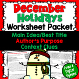December Test Prep Worksheet Packet (Main Idea, Context Clues, Author's Purpose)