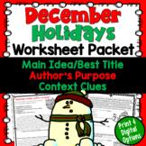 December Test Prep Worksheet Packet (Main Idea, Context Clues, Author's Purpose)