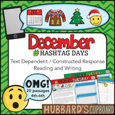 20 December Reading Passages - December Writing Prompts - Christmas Activities