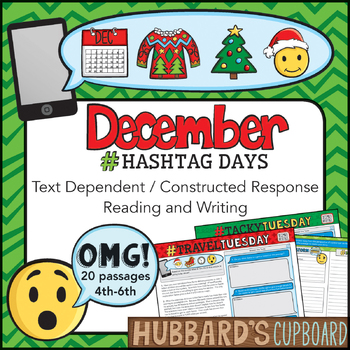 20 December Reading Passages Bundle - Writing Prompts - Christmas Activities