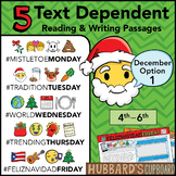 December Text Dependent Reading - Text Dependent Writing Prompts (Option 1)