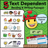 December Text Dependent Reading - Text Dependent Writing Prompts (Option 2)