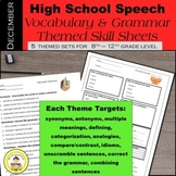 High School Speech Therapy  Vocabulary and Grammar Skill Sheets ~ December Set