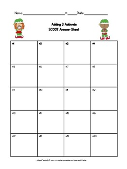 December Themed Adding 3 Addends Task Cards & Game 1.OA.2