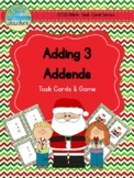 Christmas Themed Adding 3 Addends Task Cards & Game 1.OA.2