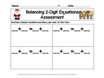 December Themed Balancing 2-Digit Equations Math Center 2.OA.1