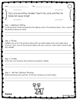 December Themed Differentiated Daily Editing and Revising Practice