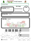 December Themed Piano Lesson Assignment Sheet
