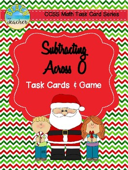 December Themed Subtracting Across 0 Task Cards & Game 2.NBT.5