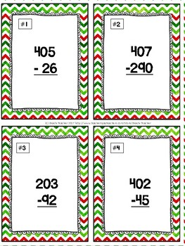 December Themed Subtracting Across 0 Task Cards & Game