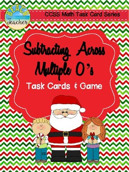 December Themed Subtracting Across Mutiple 0's Task Cards & Game 4.NBT.4