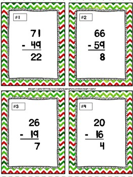 December Themed Subtraction With Regrouping Sorting Activity & SCOOT Game