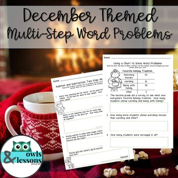 December Themed Two Step Word Problems