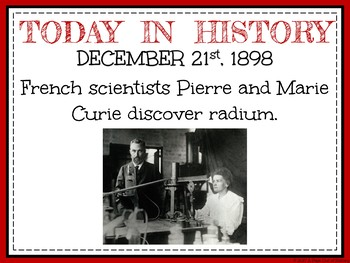 December Today in History Bell Ringers (EDITABLE)