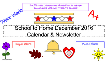 December Traditional School Calendar and Newsletter