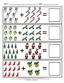 December Visual Addition Worksheets