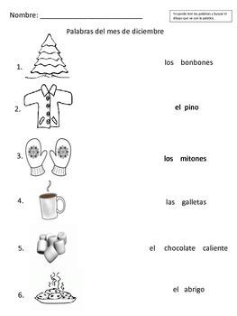 December Vocabulary Palabras de Diciembre Vocabulario Winter