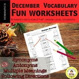 December Vocabulary -Synonyms, Antonyms, Multiple Meanings