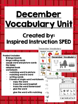 December Vocabulary Unit for Early Elementary or Students with Special Needs