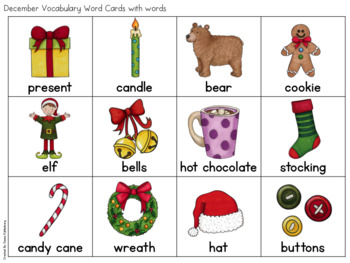 December Vocabulary {Vocabulary Cards, Mini-Reader, Activities}