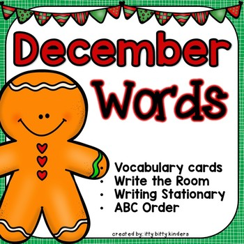 December Words - Vocabulary Cards