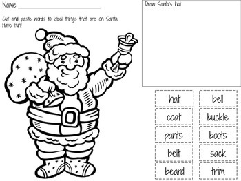 First / Second Grade - Christmas Read, Label and Draw