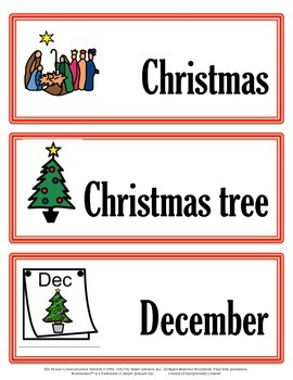 December Vocabulary for the Autism Classroom