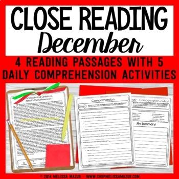 December Close Reading - Christmas & Hanukkah Reading Passages