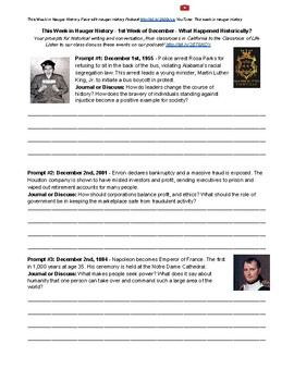 December Whole Month of Historical Journal Topics & Discussions Hauger History