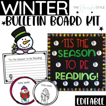 winter bulletin board reading editable snowman theme