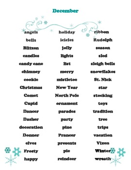 December Word Bank - For All Grades