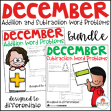 December Word Problems Addition and Subtraction Bundle
