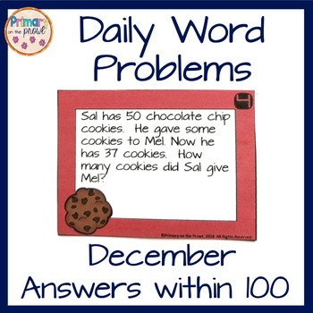 December Word Problems- Answers within 100