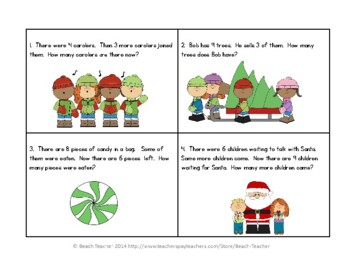 December Word Problems for 1st Grade (TASK CARDS)
