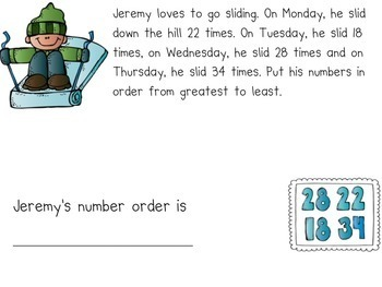 December Word Problems for the Smart Board