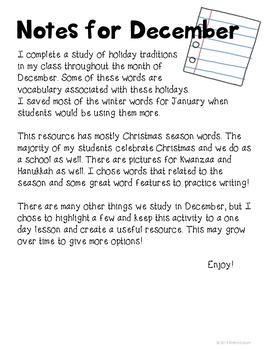 December Word Study Kindergarten